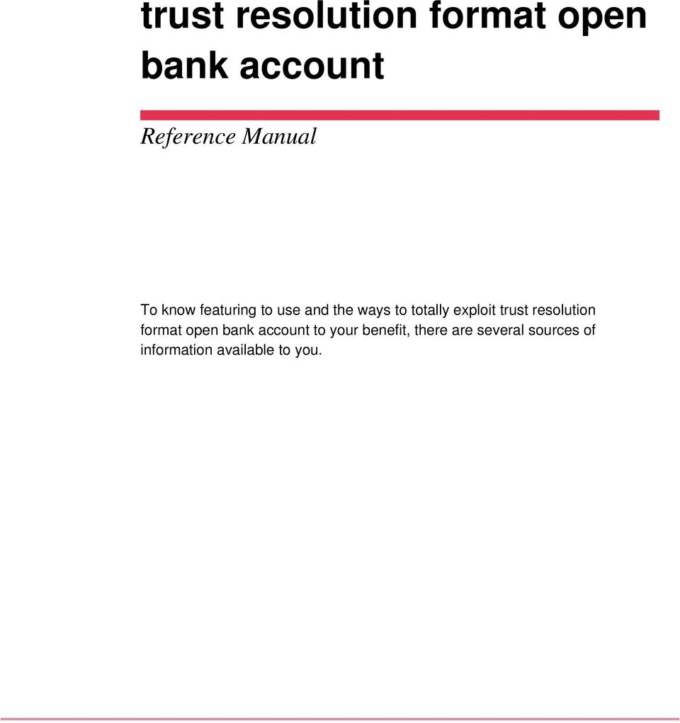 trust resolution format open bank account to your benefit