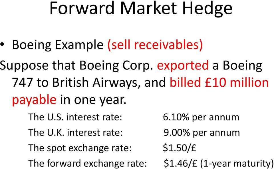 forward market hedge example