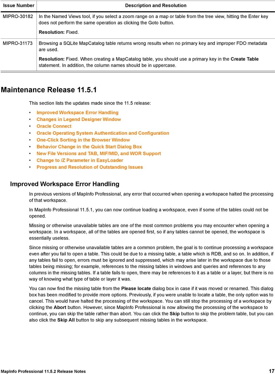 MapInfo Professional Release Notes - PDF