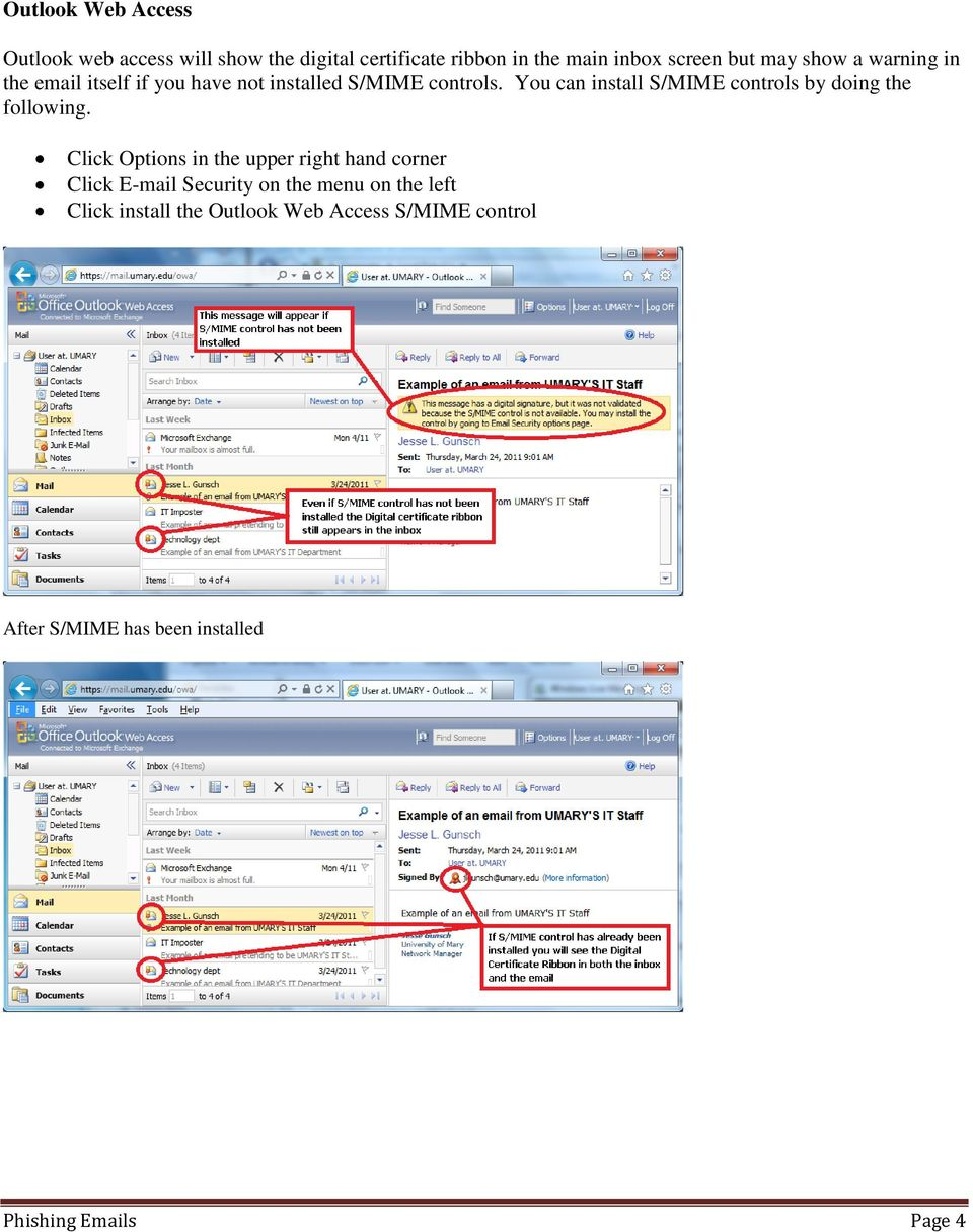 il controllo outlook web access s/mime