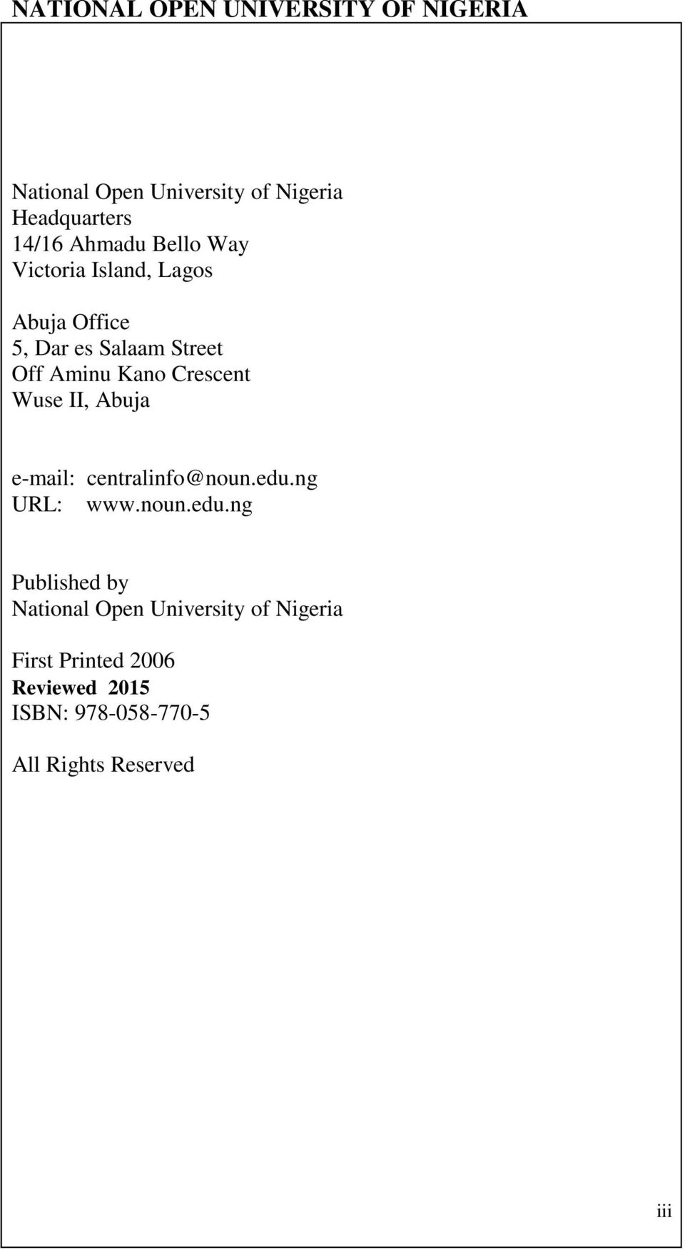 National Open University Of Nigeria School Of Education Course Code