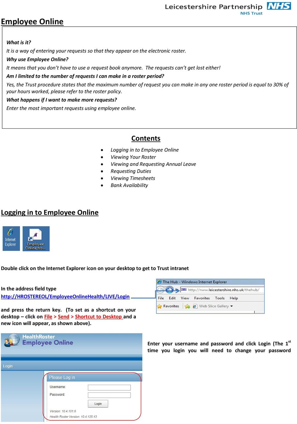Employee Online  Contents  Logging in to Employee Online - PDF
