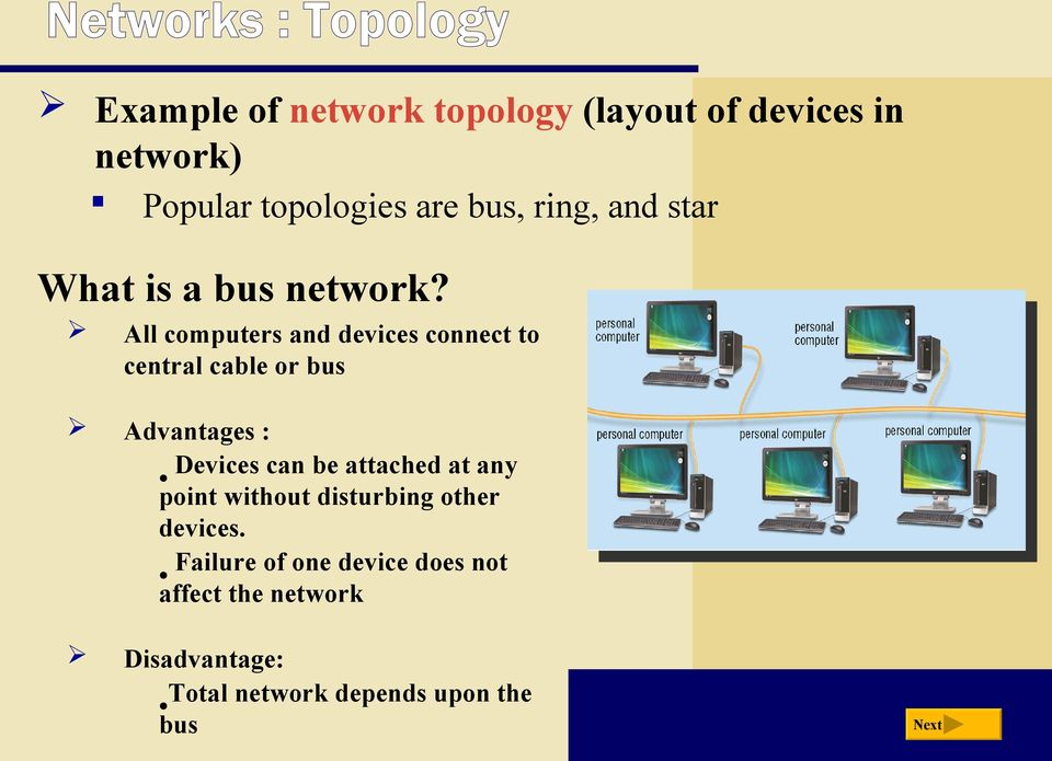 All computers and devices connect to central cable or bus Advantages : Devices can be attached
