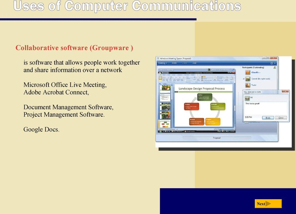 over a network Microsoft Office Live Meeting, Adobe Acrobat Connect,