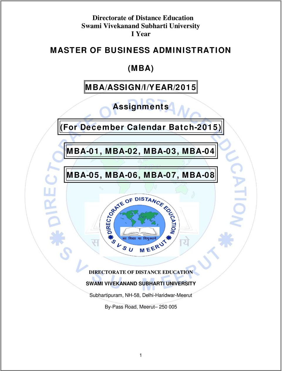 Master of business administration mba mbaassigniyear2015 mba 07 mba 08 directorate of distance education swami vivekanand subharti malvernweather Choice Image