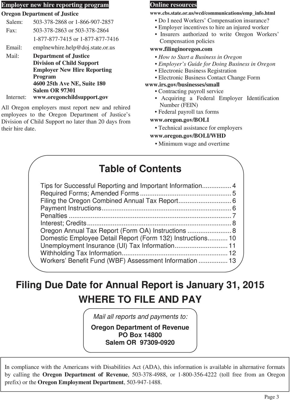Oregon Department Of Revenue Withholding Tax Tables Jidiletter Co