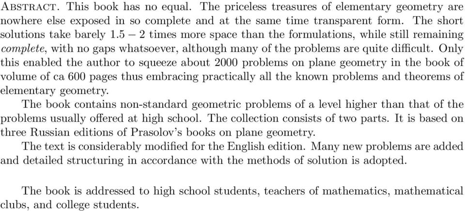Problems in plane and solid geometry, V.1, Plane geometry