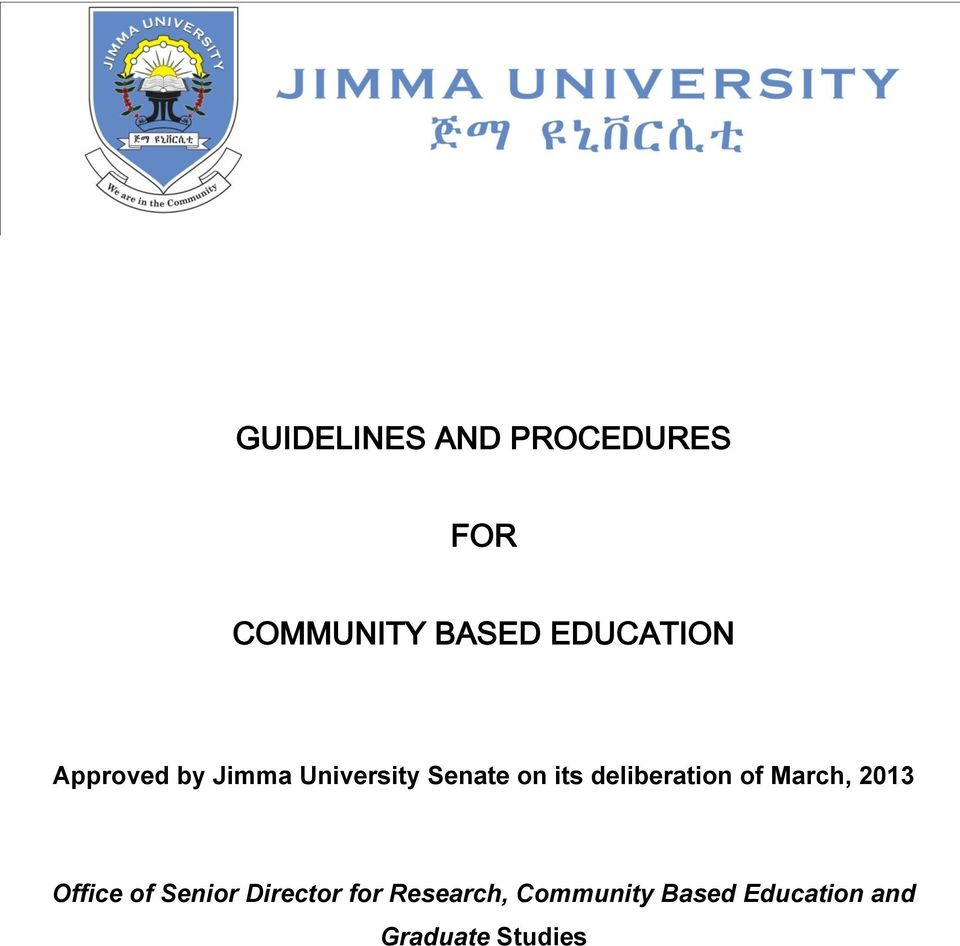 GUIDELINES AND PROCEDURES FOR COMMUNITY BASED EDUCATION - PDF