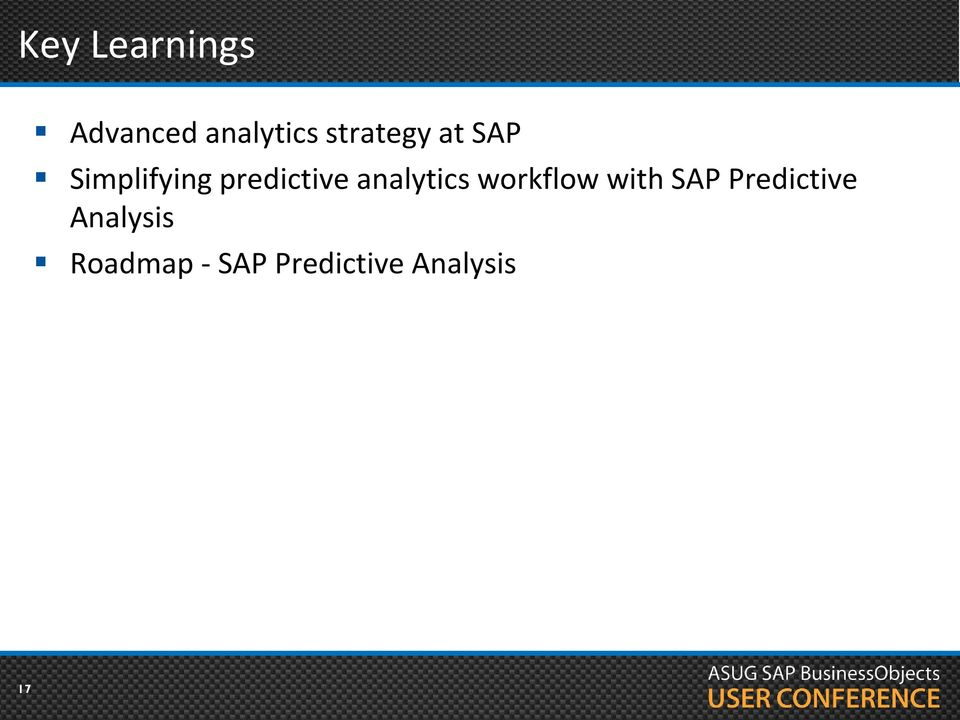 analytics workflow with SAP Predictive