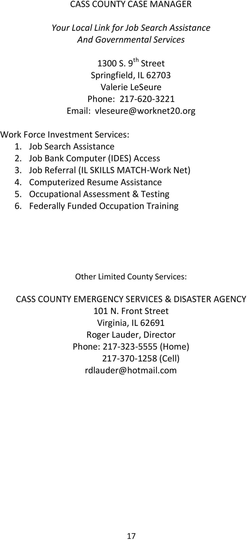 Cass County Directory Pdf