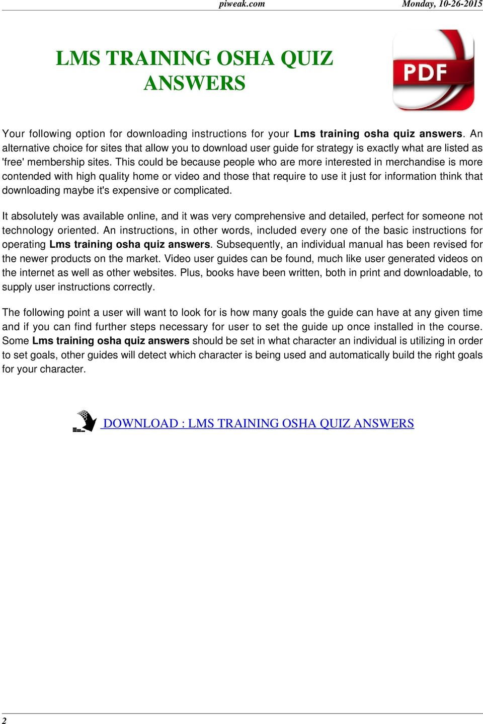 LMS TRAINING OSHA QUIZ ANSWERS - PDF
