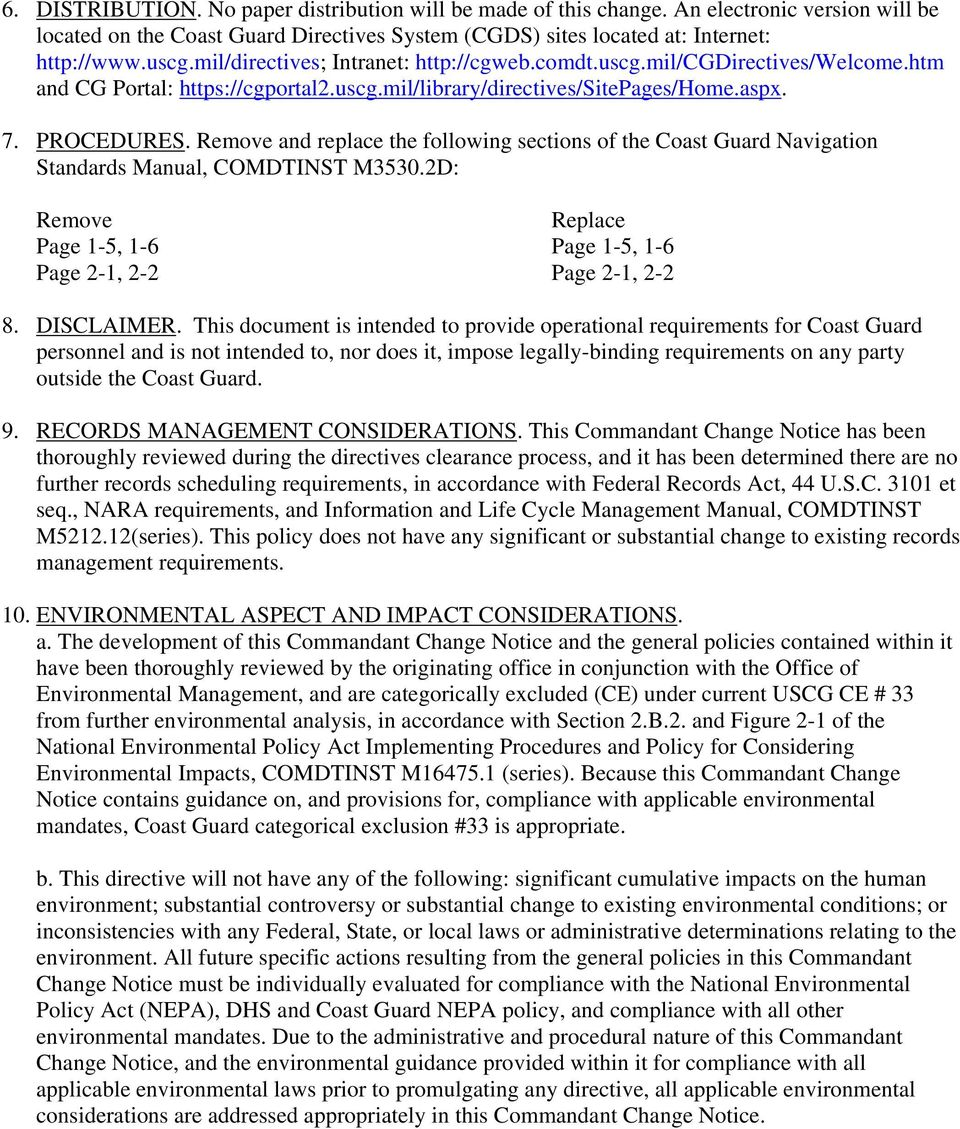 Remove and replace the following sections of the Coast Guard Navigation  Standards Manual, COMDTINST M3530