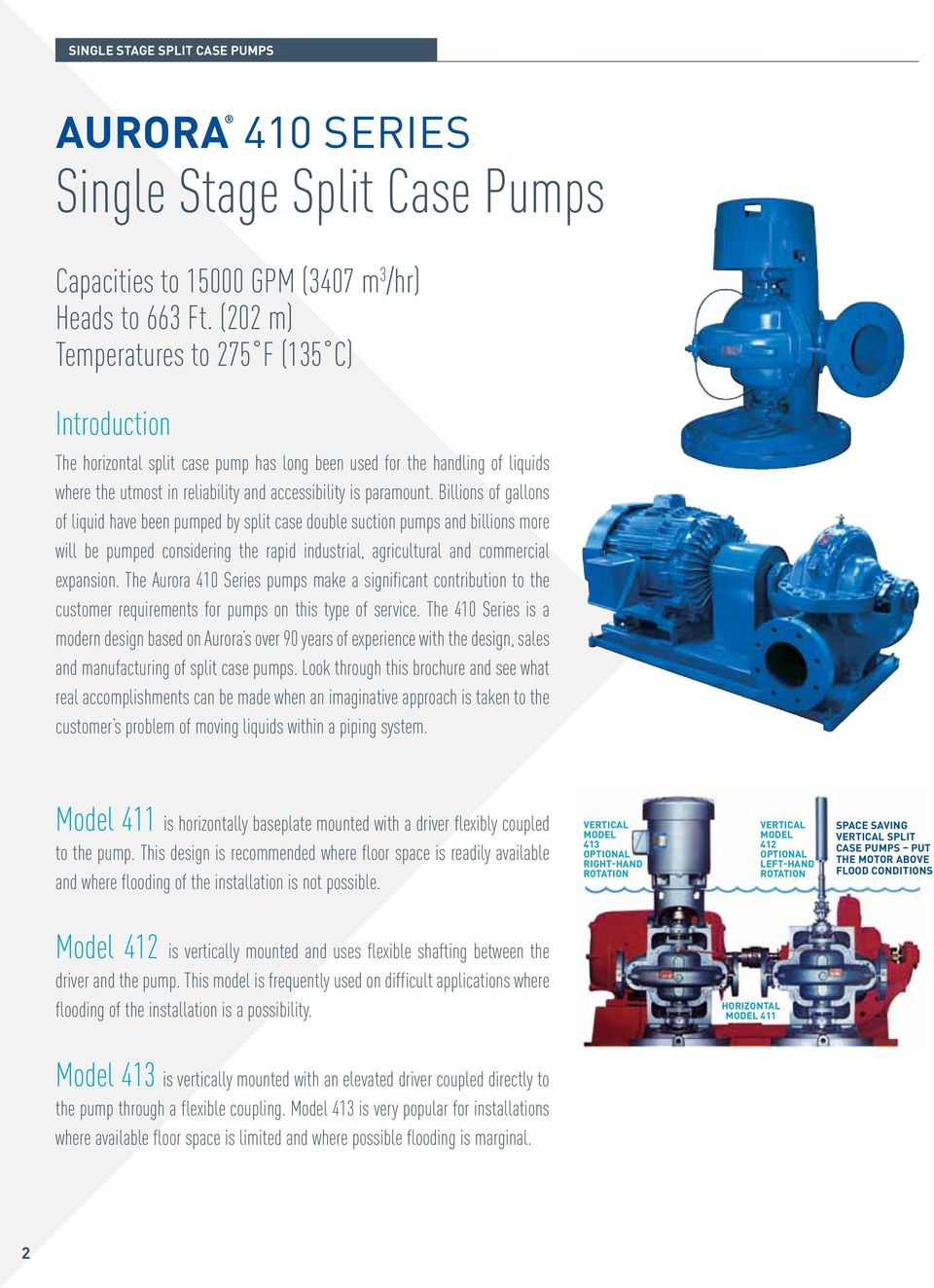 Model 413 AURORA  410 Series SINGLE STAGE SPLIT CASE PUMPS - PDF