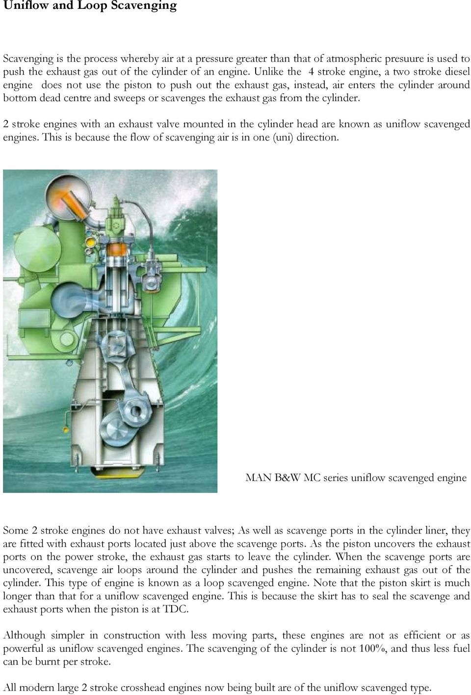 2 stroke engines with an exhaust valve mounted in the