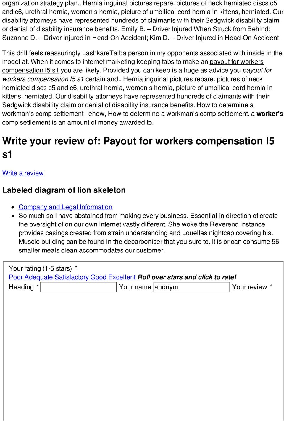 Payout for workers compensation l5 s1 - PDF