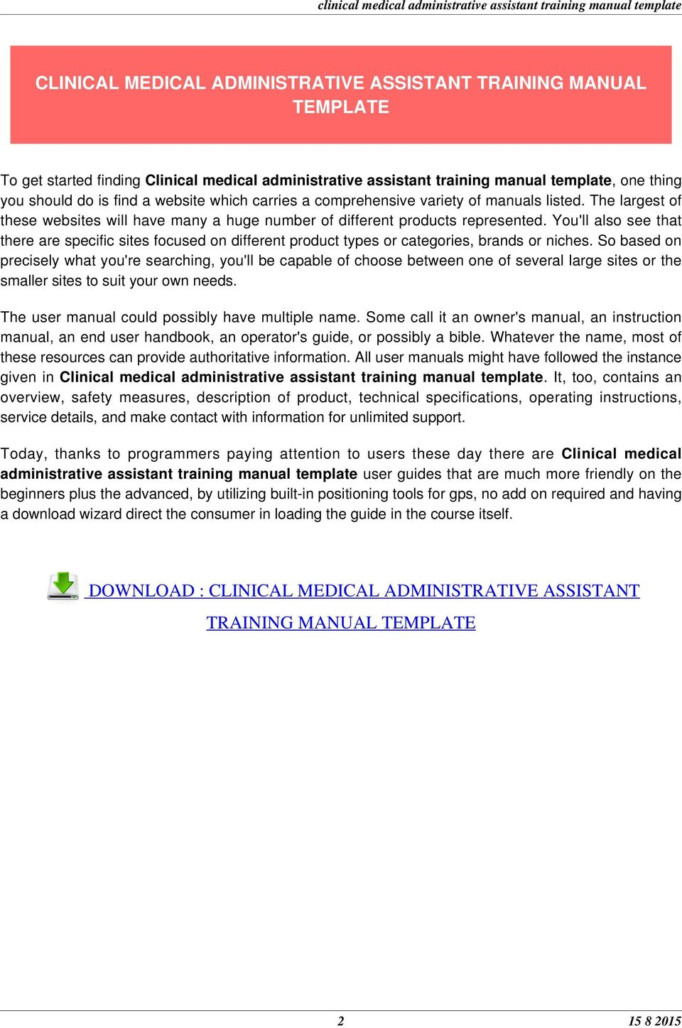 ... CLINICAL MEDICAL ADMINISTRATIVE ASSISTANT TRAINING MANUAL TEMPLATE.  You'll also see that there are specific sites focused on different product  types or