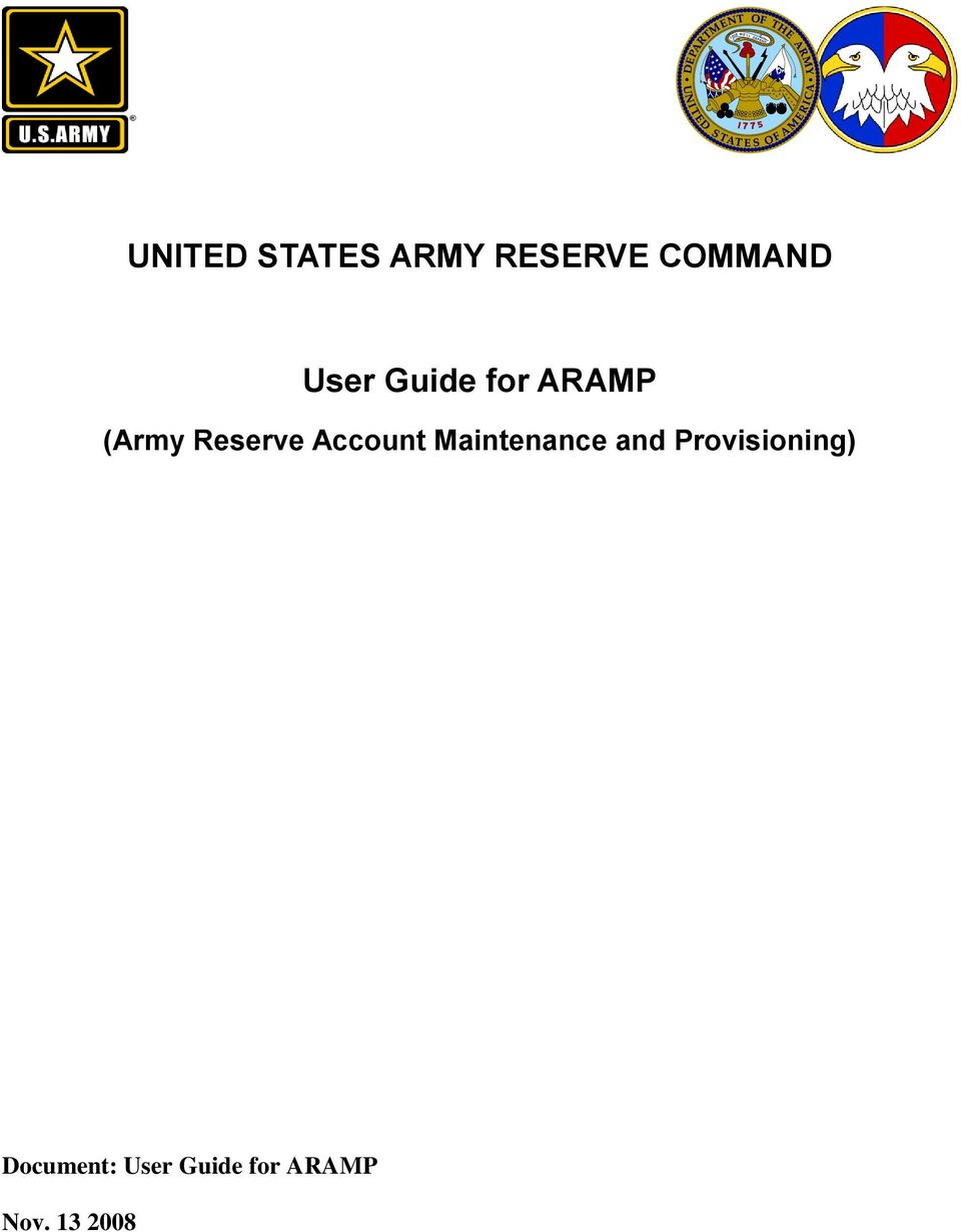 UNITED STATES ARMY RESERVE COMMAND  User Guide for ARAMP - PDF