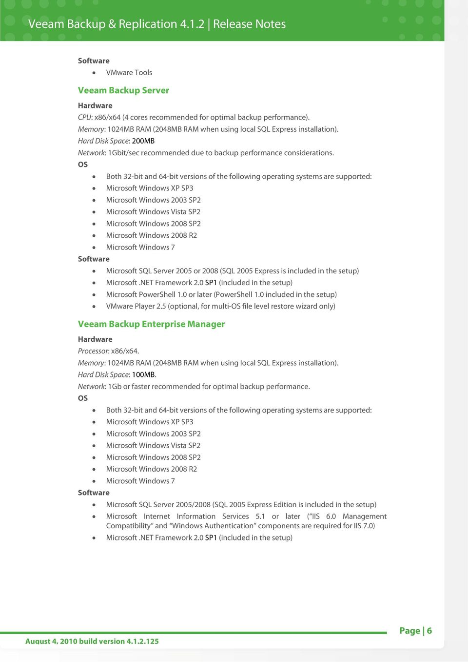 VEEAM BACKUP & REPLICATION RELEASE NOTES - PDF