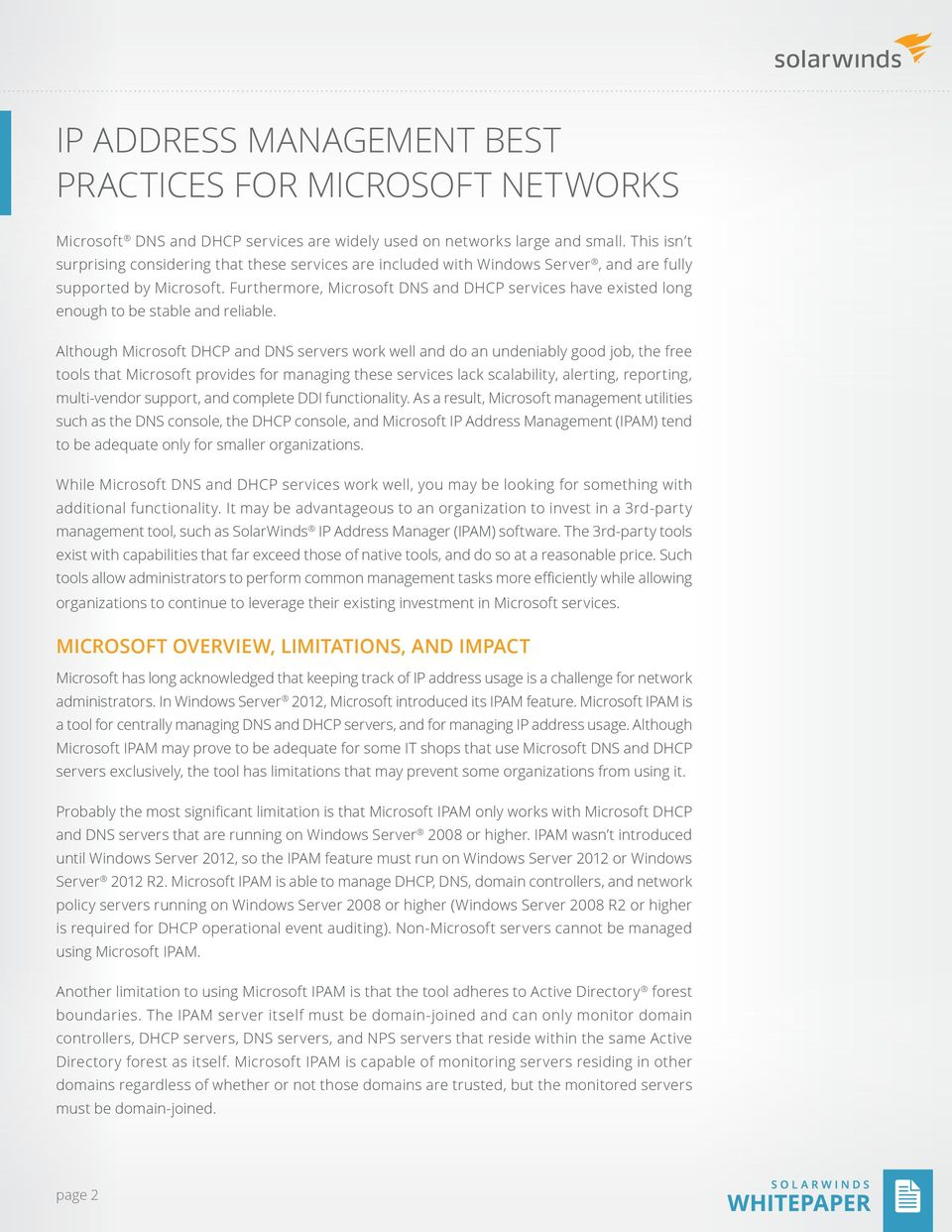 ip address management best practices for microsoft networks - PDF