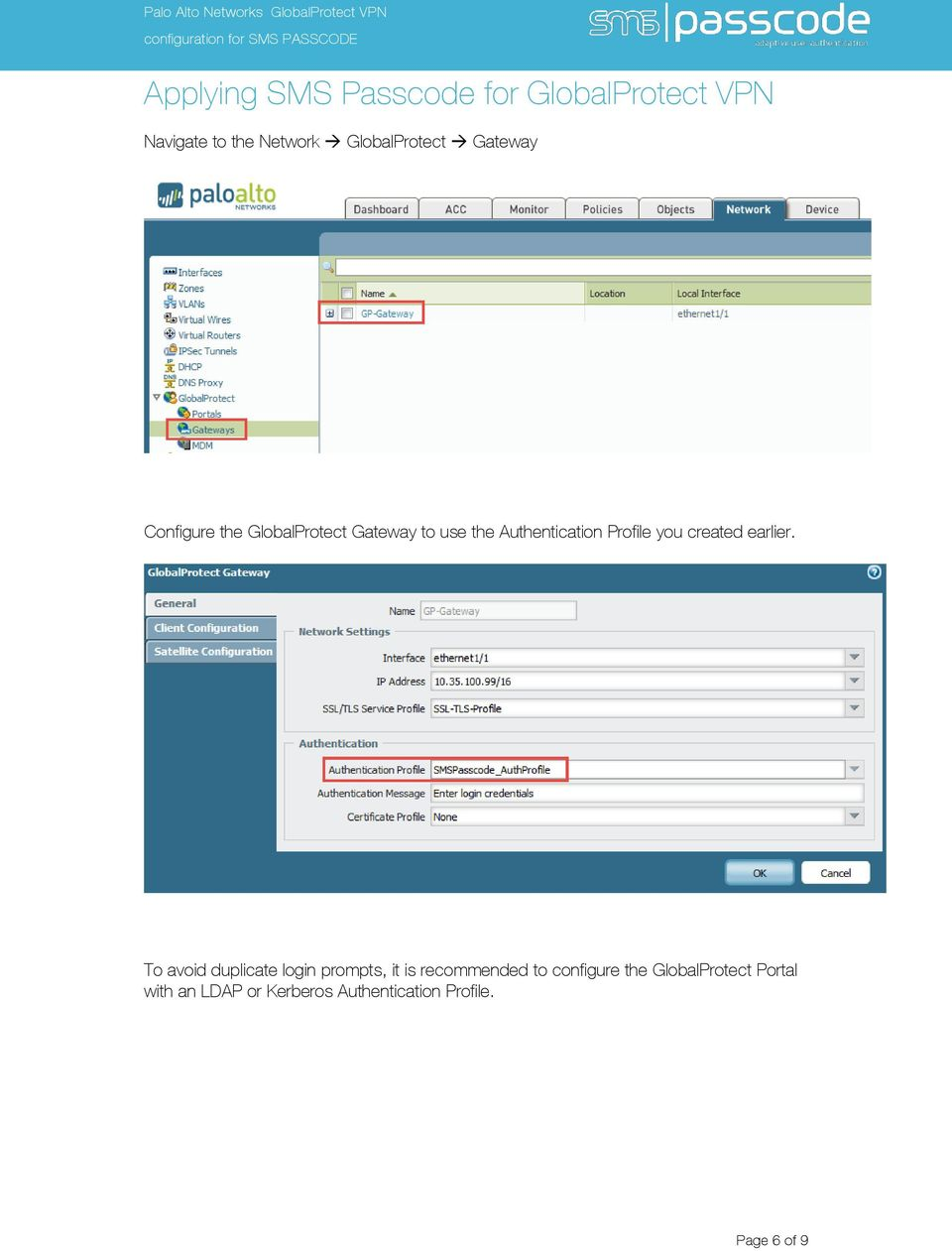 Palo Alto Networks GlobalProtect VPN configuration for SMS