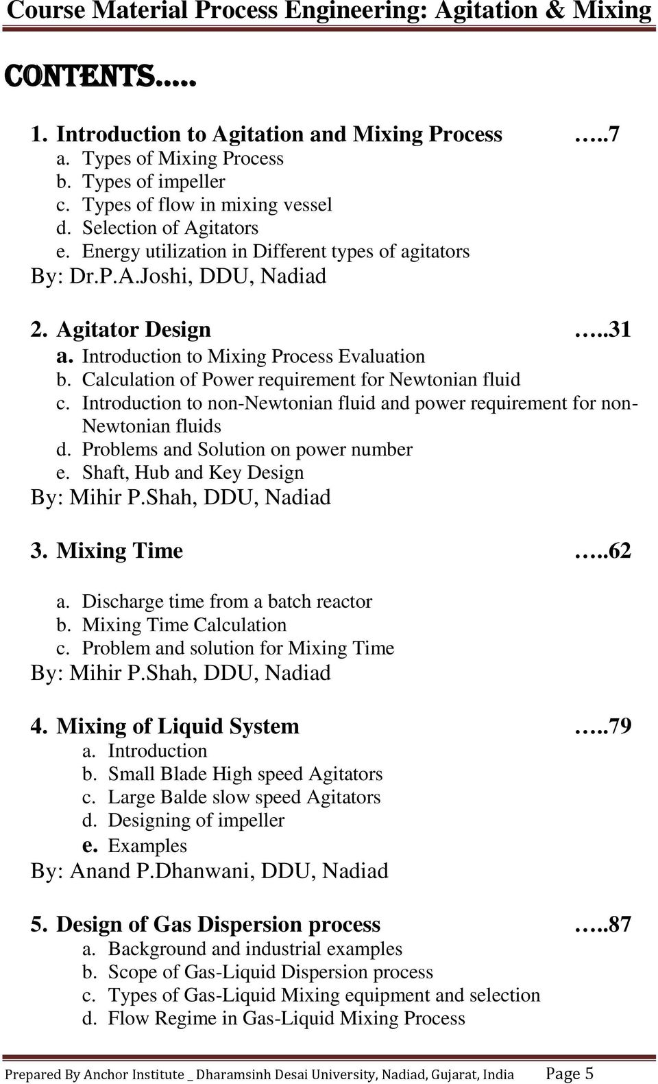 Course Material Compiled By Prof  Mihir Shah, DDU - PDF