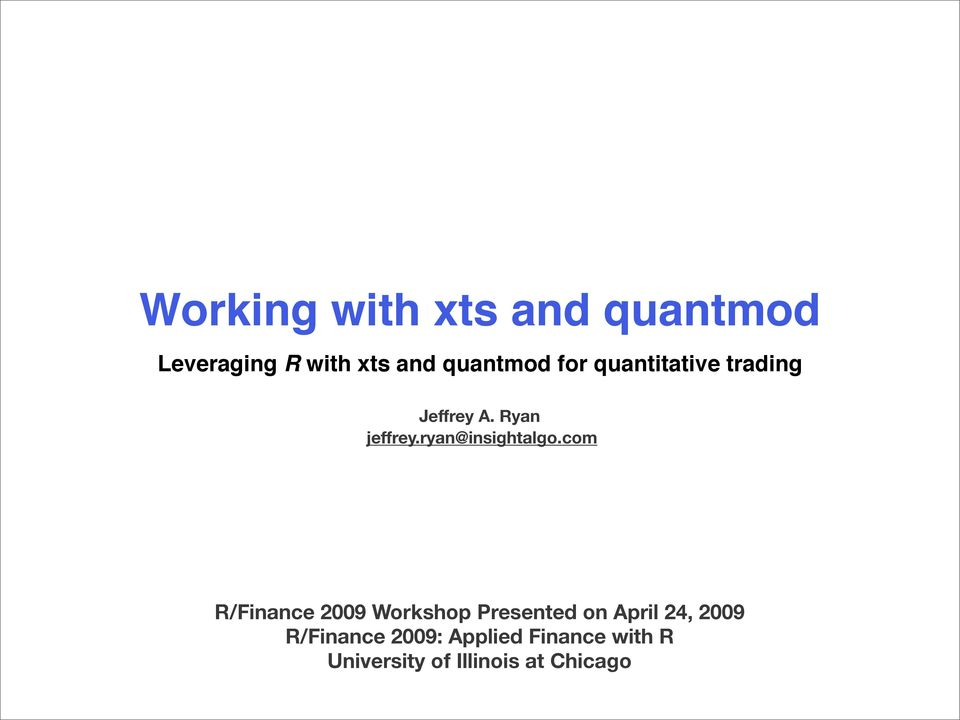 Working with xts and quantmod - PDF Free Download