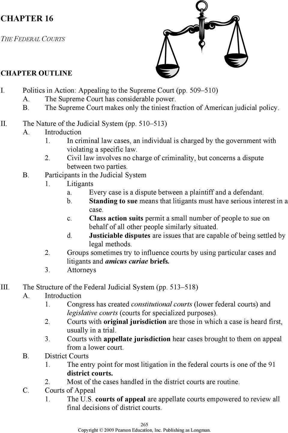 Chapter 16 The Federal Courts Chapter Outline Pdf