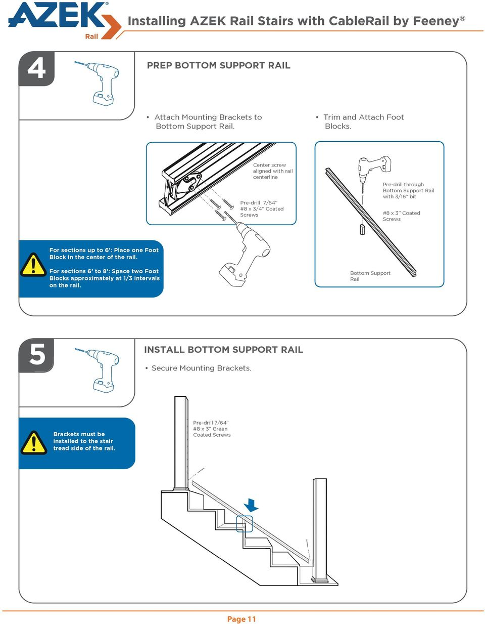 Azek Rail Install Guide Pdf Stair Diagram House Of Forgings Part Up To 6 Place One Foot Block In The Center For 12 Installing Stairs