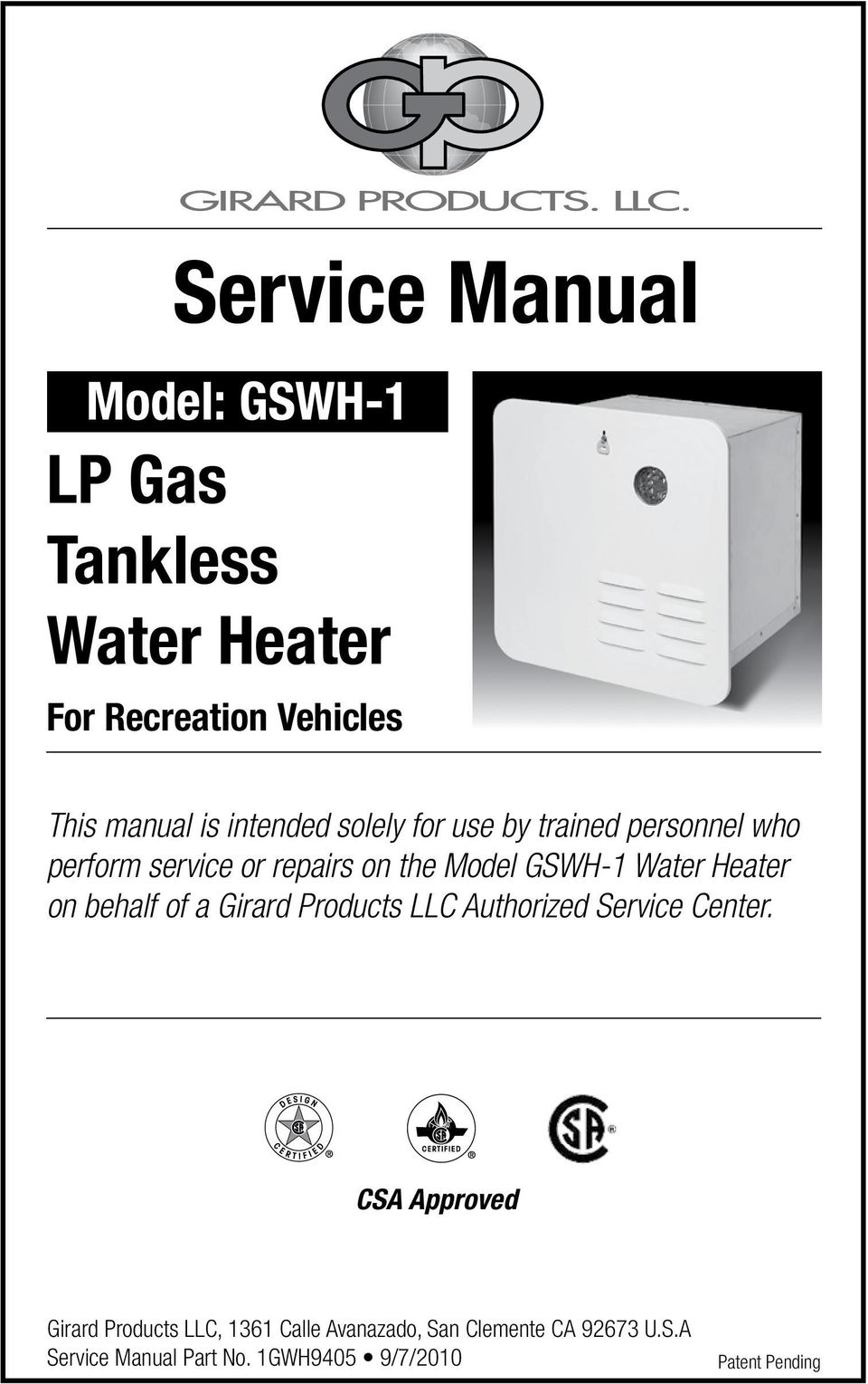 Service Manual Lp Gas Tankless Water Heater Model Gswh 1 For Wiring Diagram Propane Transcription