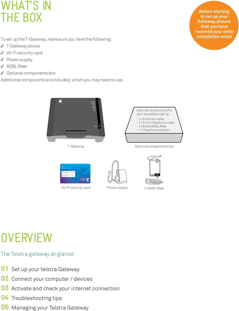 Get connected with your TELSTRA  Quick start guide Fold out to get