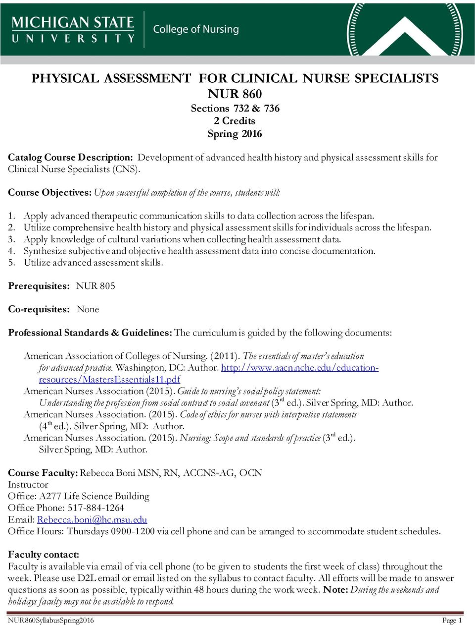 PHYSICAL ASSESSMENT FOR CLINICAL NURSE SPECIALISTS NUR 860
