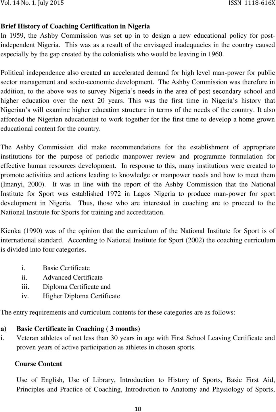An Assessement Of Coaching Certification In Nigeria Within Global