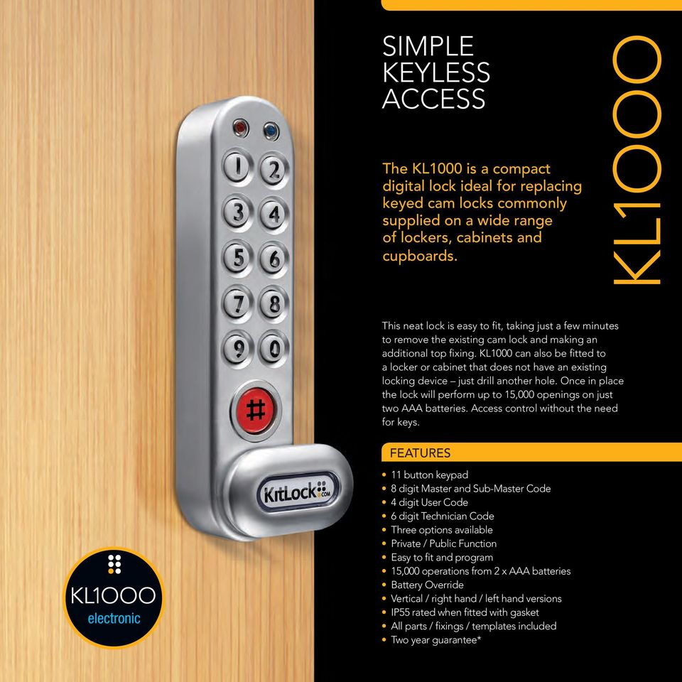 Electronic Locker Locks Go Keyless Kitlock Pdf How To Build Security Door Key Kl1000 Can Also Be Fitted A Or Cabinet That Does Not Have An Existing