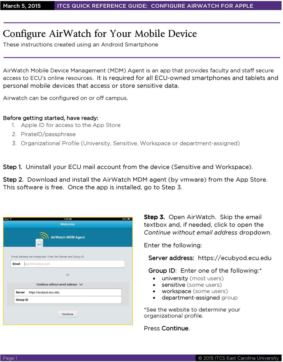 Configure AirWatch for Your Mobile Device - PDF