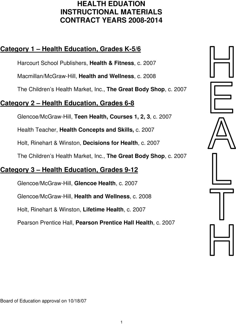 Health eduation instructional materials contract years pdf 2007 category 2 health education grades 6 8 glencoemcgraw hill fandeluxe Image collections
