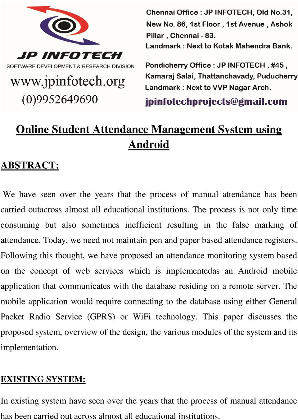 Online Student Attendance Management System using Android - PDF