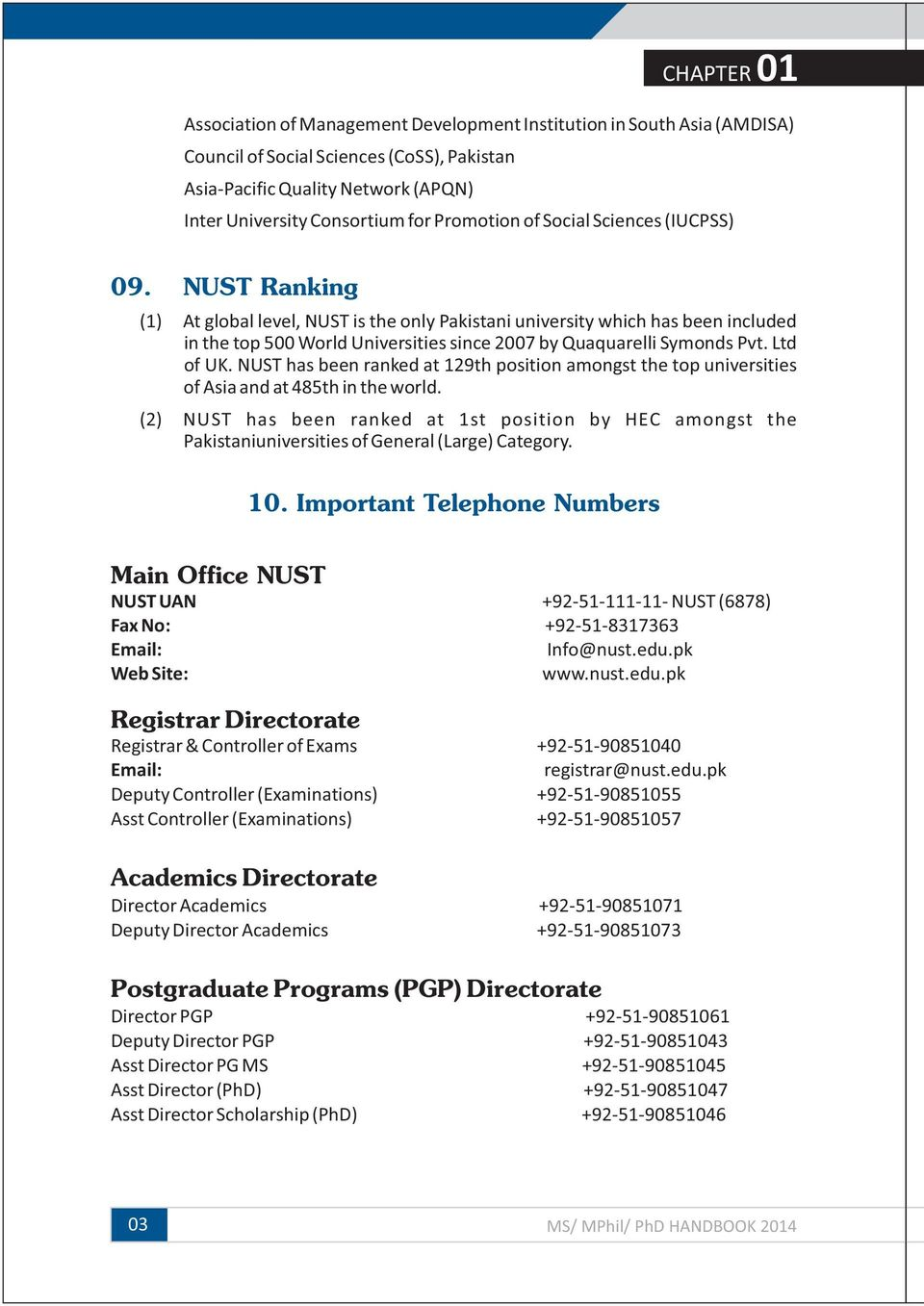 NATIONAL UNIVERSITY OF SCIENCES & TECHNOLOGY  MS/ MPhil/ PhD