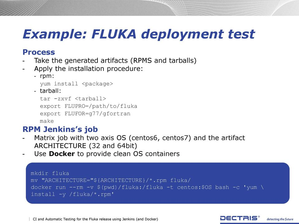 Continuous Integration and Automatic Testing for the FLUKA