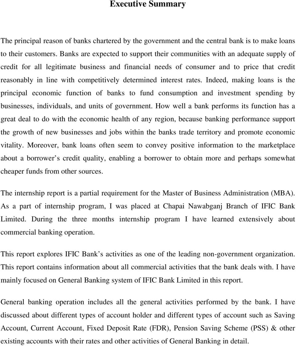 Internship Report GENERAL BANKING SYSTEM OF IFIC BANK