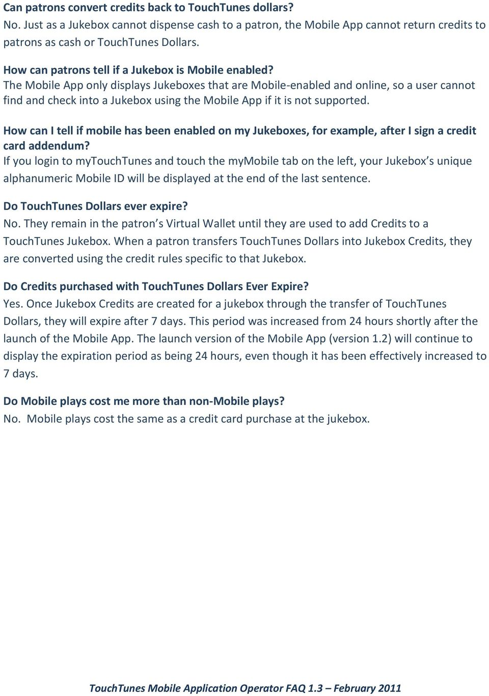 TouchTunes Mobile Application Operator FAQ Version PDF