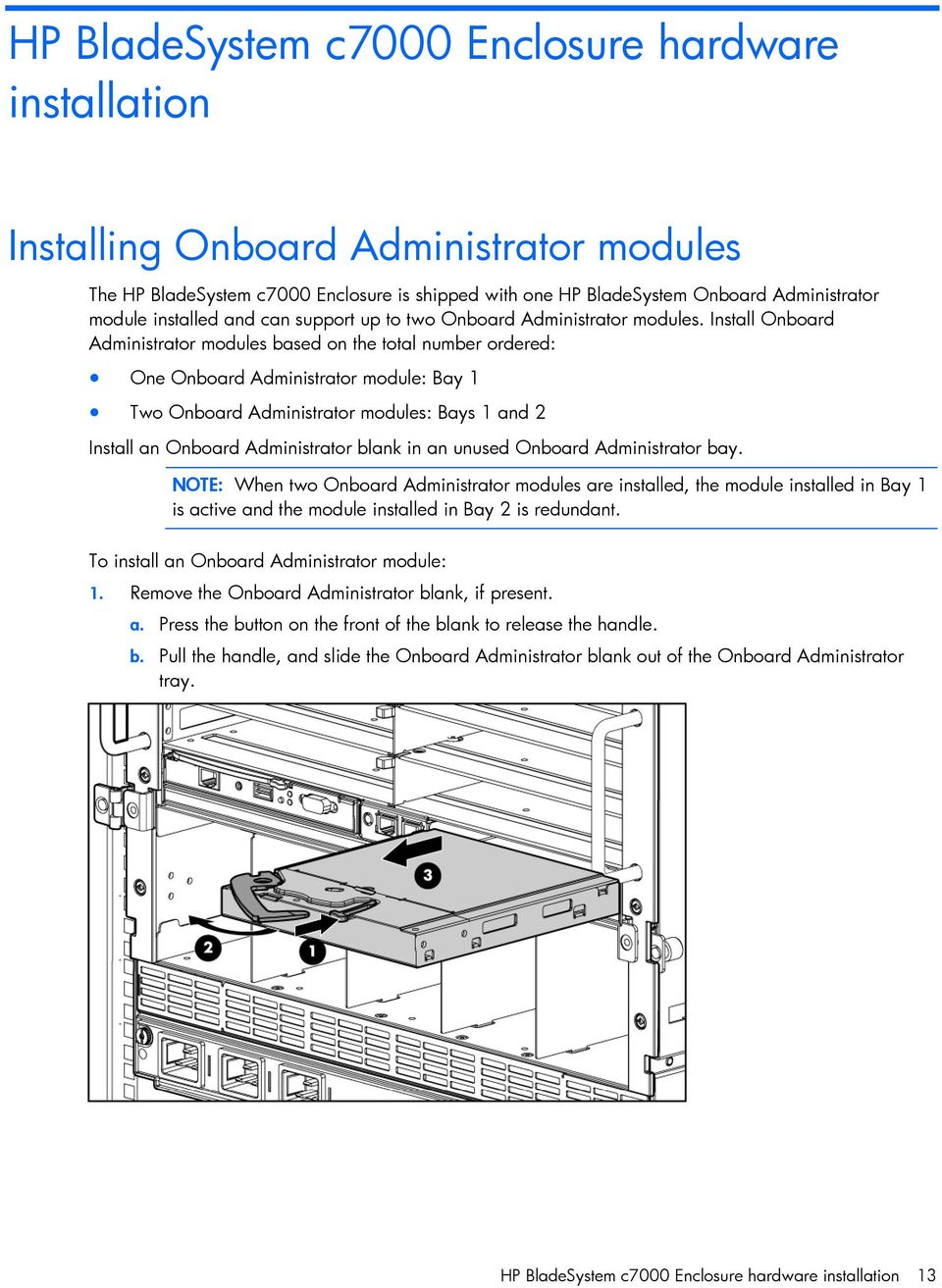 Install Onboard Administrator modules based on the total number ordered:  One Onboard Administrator module:
