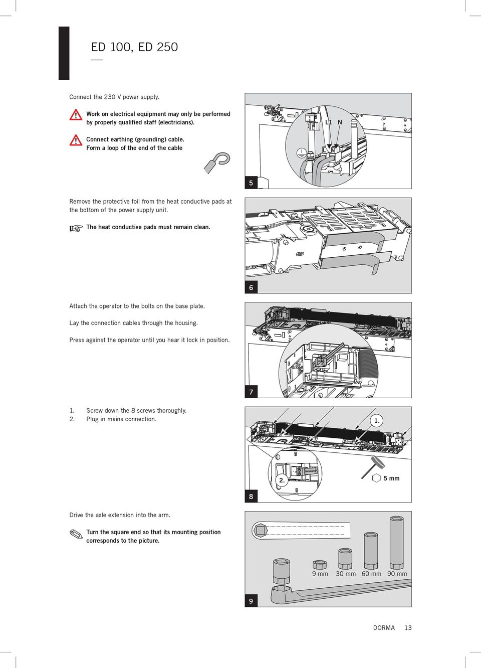 Ed 100 250 Mounting Instructions Pdf 300 Key Switch Wiring Diagram 6 Attach The Operator To Bolts On Base Plate Lay Connection Cables