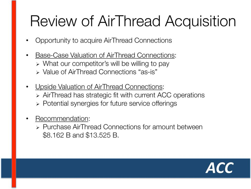 valuation of airthread connections