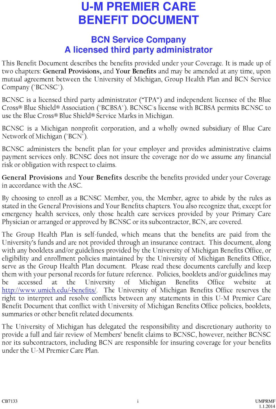 BCN Service Company U-M PREMIER CARE  Benefit Document - PDF