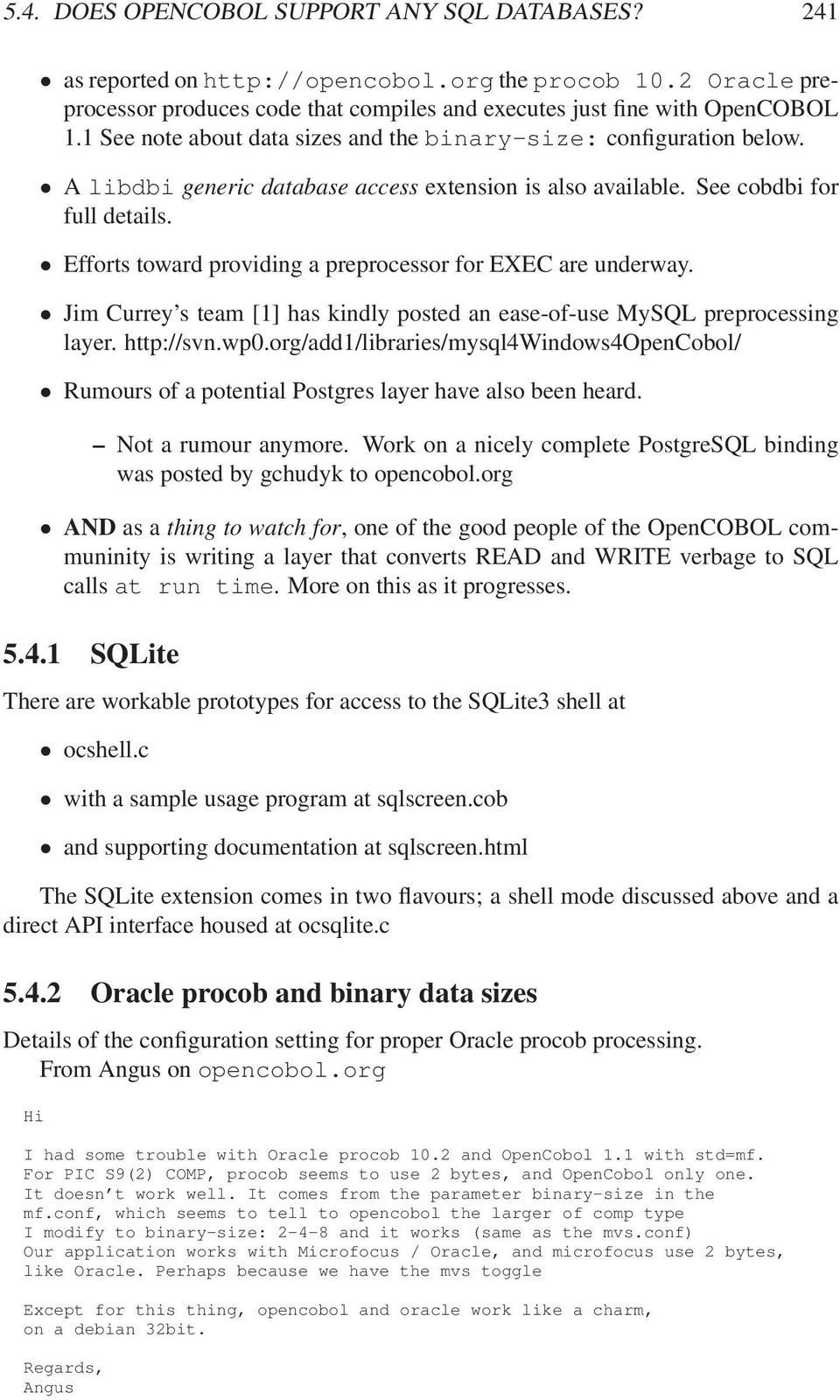 5 4 Does OpenCOBOL support any SQL databases? - PDF