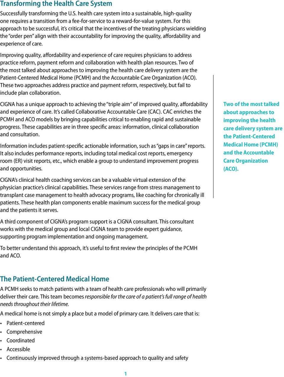 A White Paper Collaborative Accountable Care Cigna S Approach To