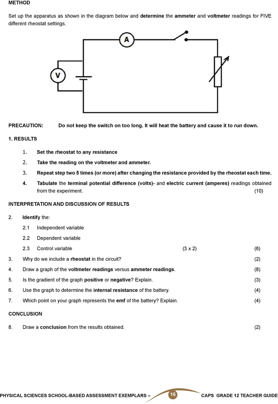 Physical Sciences School Based Assessment Exemplars Caps Grade 12 Lessons Electric Circuits Volumeexperiments Chapter Wiring Circuit Repeat Step Two 5 Times Or More After Changing The Resistance Provided By