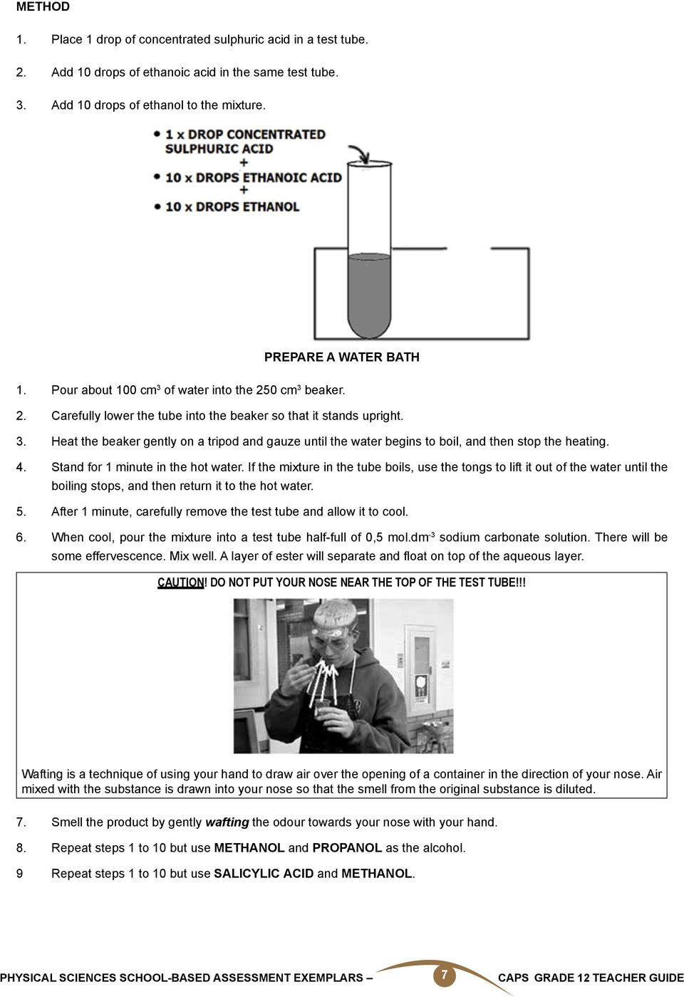 Physical Sciences School Based Assessment Exemplars Caps Grade 12 Plan Instructor S Guide Electric Circuits Experiment 4 Stand For 1 Minute In The Hot Water If Mixture