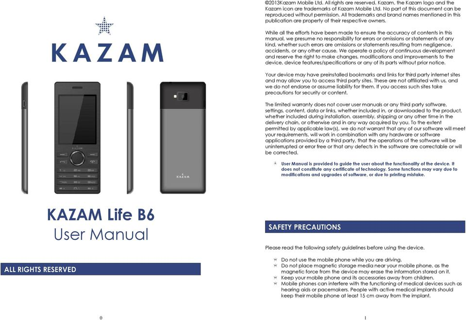 Kazam Life B6 User Manual Pdf
