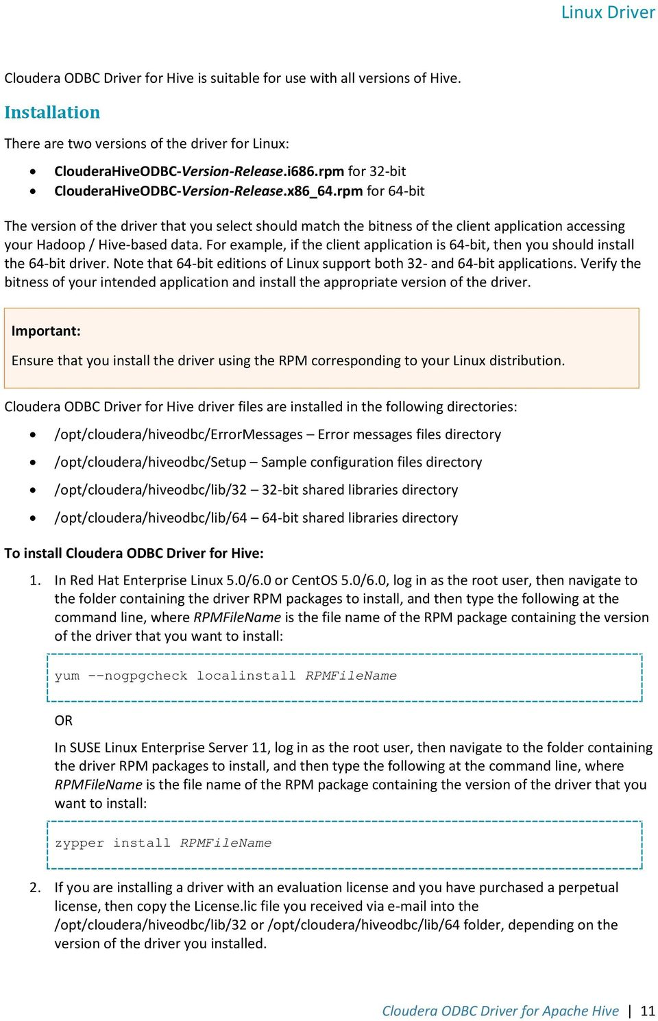Cloudera ODBC Driver for Apache Hive Version PDF